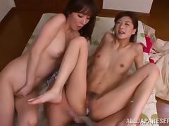 Skinny Japanese babe with natural tits getting her hairy pussy drilled until orgasm in a hot ffm threesome