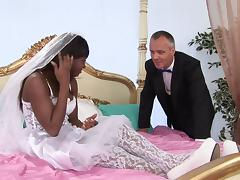 Ebony bride sucking dick and getting asshole and pussy fucked