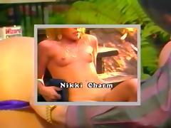 Blonde Nikki Charm group in garden