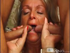 Tattooed granny with huge tits enjoying an awesome threesome