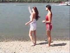 Daring beach bunnies strip and have lesbian fun in public
