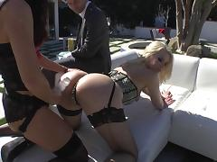 James Deen chokes and fucks two chicks in a threesome