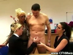 Three bored ladies measuring a cock