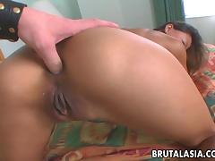 Deep anal penetration with a huge rod for a nasty Asian slut
