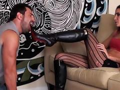 Abusive girlfriend in high heels torments her boy