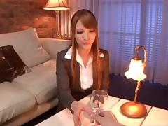 At a job interview she lets the manager fuck her tight pussy