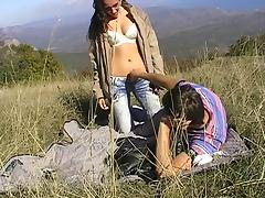 Viktoria in hot cutie rides an amateur dick in nature