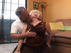 Grandpa gets horny and fucks granny in her shaved pussy