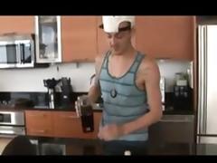 Black gay shoves his cock in white hunk's anus