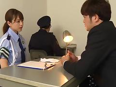 Japanese uniform fun with a lady cop having fun with dicks