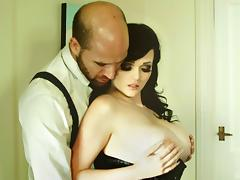 Sucking slut in a black corset taken hard from behind
