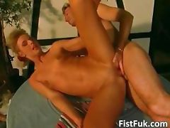 Horny blond slut gets fisted by her part2