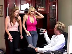 Dazzling blonde in fishnet being hammered crazily in a threesome
