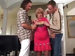 Old woman with two junior boys