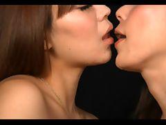 Asian lesbians spit kissing