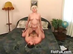 Ultra blonde slut gets her hot pussy