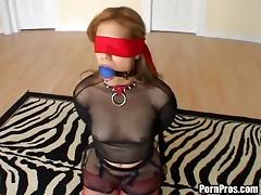 Blindfolded cutie having her anus stuffed with an erected dick