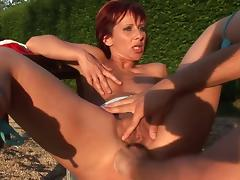 Redhead cougar fucks the hot waiter hunk outdoors