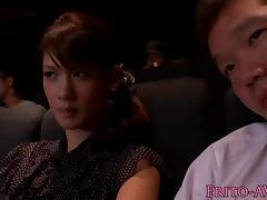 Japanese model gf blowing cock in cinema