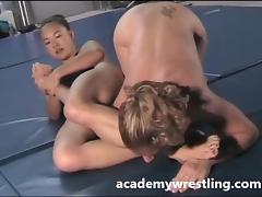 Strap-on dildo sex between Lesbian on Academy Wrestl