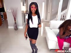 Busty ebony beauty Brittney gets her snatch plugged with a white rod