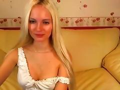 Sweet blonde SexySweetNastya removes her panties
