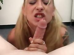This busty blonde coed is crazy horny
