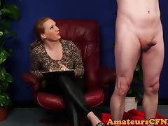 Busty cfnm femdom cocksucking restrained guy