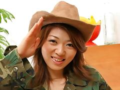 Seira Rando in Japanese army girl Seira Rando enjoys a cock rodeo - AviDolz