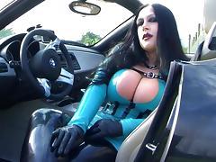 Busty BMW Z4 Bitch - Public Blowjob Handjob with Gloves in Majorka - Fuck my nasty Mouth - Cum on my Tits