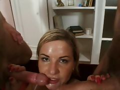 Double anal for blonde Eve