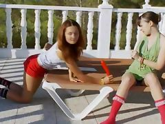 Two girl4girl dildoing snatches outdoors