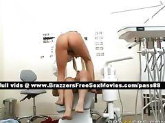 Amazing blonde dentist on her chair