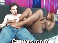 Busty Ebony Giving Hot Footjob