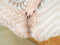 Hottie teasing vagina on the floor