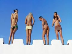 Four lesbian babes masturbate together