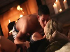 busty blonde sex before fireplace
