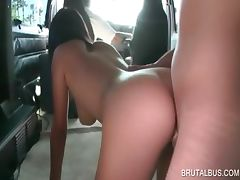 Tempting amateur gives great BJ in the sexbus