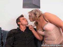 Chubby blonde MILF sucks hard cock