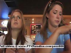 Lina and Danielle tender lesbians public flashing