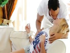 Interracial sex with blonde beauty model