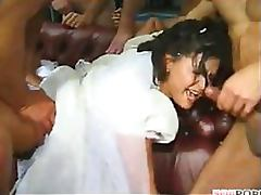 Slutty Brunette Bride Gets Gangbanged In Front Of Her Cuckold Husband