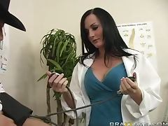 Sexy doctor Melissa Lauren cures her patient KJ and rides his dick