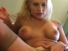 Blonde in vintage tan stockings sucks dick