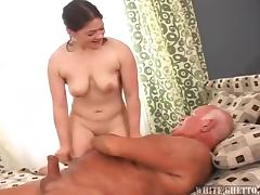 Naughy Grandpa Loves Cream Pie in His Lover's Pussies