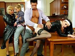 Nun slut part of a sexy clothed orgy