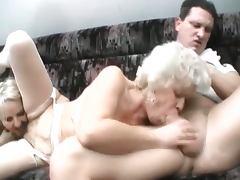 Hairy blonde grannies threesome fuck
