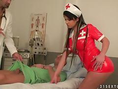 Sexy nurse Imogene gets enjoys hot DP Backstage video