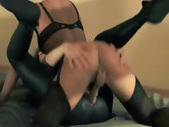 Brunette woman gets fucked with strap on