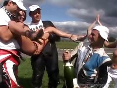 Champagne videos. Champagne showers become the reason for fantastic banging activity to start